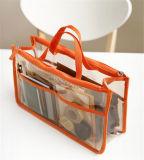 Sac cosmétique conçu neuf de PVC de double tirette portative (80029)