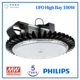 5 años de la garantía 100W de alta luz de la bahía LED del UFO con la viruta de Philips LED y la fuente de alimentación de Meanwell