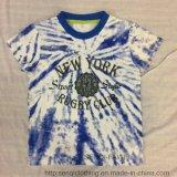 T-shirt da luva do Short do menino azul na roupa dos miúdos com toda sobre a cópia Sq-6317