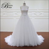 Lhbim 2016 безрукавный линия кристалл отбортовывая Bridal платье венчания