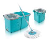 Système de nettoyage de lavette de rotation de Microfiber - jeu magique de position de lavette d'étage de presse facile avec 2 têtes de lavette de Microfiber - couleur bleue