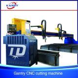 Tipo cortador del pórtico de hoja plateado de metal de acero de la cortadora del CNC de la llama del plasma