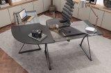 검정에 있는 컴퓨터 워크 스테이션을%s 유리제 L 모양 본사 책상