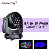 Des Theater-bewegliches Kopf-LED Wäsche-lautes Summen Stadiums-der Beleuchtung-19*15W