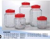 Frasco de pedreiro de vidro de vidro do armazenamento da bebida da forma redonda da vasilha