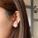 女性のDouble-Deck Ltの宝石類のクラシックのイヤリングのためのローズCateyes Flower金カラーFemme方法様式のスタッドのイヤリング