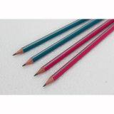 HB triangulaire de crayons avec l'extrémité d'enduit et de gomme à effacer de piste