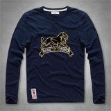 Long T-shirt de base de coton de Knit de la chemise des hommes avec la configuration de lion