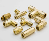 Messingkomprimierung-Rohranschluss-Verbindungsstück-T-Stück mit Nptf Gewinde