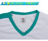 T-shirt 100% blanc de polyester de V-Cou de pièce en t supérieure bon marché en gros