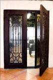 Portes d'entrée faites sur commande de fer de taille avec la glace Tempered pour la Chambre