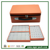 Rectángulo de almacenaje de cuero de lujo de la joyería de la cremallera con el Portable