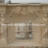 Camino di marmo bianco decorativo dell'interno & esterno, mensola del camino naturale del camino di pietra