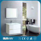 Gabinete de banheiro branco de pintura do MDF da venda quente com dissipador (SW-1302)