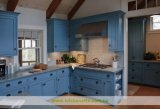 Cabinas de cocina azules claras del estilo de la playa de madera sólida con la tapa del cuarzo (WH-D299)