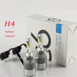 C6 LED 헤드라이트 장비 옥수수 속 H4 Hi/Lo 광속 7600lm 6000k LED 헤드라이트 램프 전구 72W 차 Ledlight