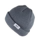 Custom Beanie Woven Label Chapéu de malha de inverno para homens