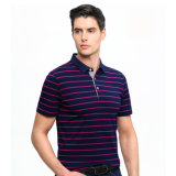100% Algodão Fiado Dye Stripe Polo para Homens