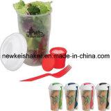 Copo de xícara de plástico 3-em-1 com copo de salada de comida