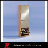 ミラーが付いている玄関の家具のシンプルな設計の靴のキャビネット