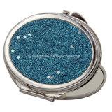 Miroir d'or de poche de renivellement de diamant rouge de luxe