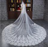 Вуаль Tulle горячего сбывания 2016 длинняя Bridal с краем картины Applique шнурка