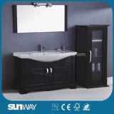 Pavimento americano di stile che si leva in piedi vanità della stanza da bagno di legno solido con la lampada