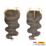 Chiusura completa ondulata nera naturale brasiliana della parte superiore del merletto dei capelli umani del Virgin