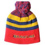 Beanie vif adapté aux besoins du client de Knit brodé par logo promotionnel acrylique fait sur commande de laines