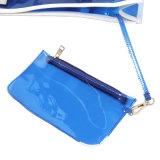 Blauer wasserdichter Belüftung-weißer Griff-transparente Handtasche (A092)