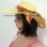 El sombrero de paja de papel del 100%, forma estilo flojo con la decoración Chiffon de la cinta