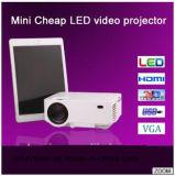 Projetor de Luxcine LCD, HDMI, fone de ouvido, avoirdupois, o VGA, USB, projetor dos multimédios do diodo emissor de luz da ranhura para cartão do SD