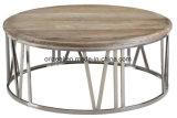 Personalización de villas de lujo modernas Diseño de muebles de metal Mesa de café de madera nórdica