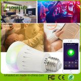 Couleur de RGBW changeant l'ampoule contrôlée du WiFi DEL d'E27 9W $$etAPP