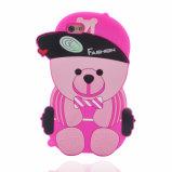 Caso macio do iPhone do urso da cor-de-rosa da tampa do silicone dos desenhos animados 3D bonitos encantadores para o iPhone 7 /iPhone 6 (XSDW-107)