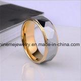 Anello di lusso del tungsteno dell'anello di doratura elettrolitica del porcile degli uomini singolo