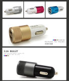 2 Port USB 3.1A Aluminum Car Charger for Mobile Phone