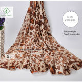ヒョウの点によって印刷される工場を持つFashion Voile Scarf熱い販売法の女性