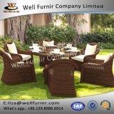 Vimine rotondo lussuoso buono dell'intervallo della mobilia del rattan di Furnir che pranza gli insiemi
