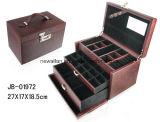 贅沢なハンドメイドデザインブラウンのコードされたロックが付いている革宝石箱