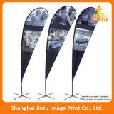 Banderas al aire libre de encargo de la pluma del vuelo del indicador de playa de la lágrima del poliester