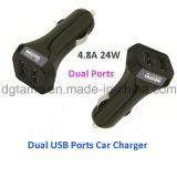 4.8A는 지능적인 차 충전기 접합기 검정 USB 포트 이중으로 한다