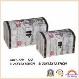 Arc-Shaped деревянная античная коробка подарка коробки хранения чемодана с тканью напечатала