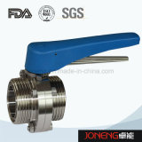 Válvula de borboleta soldada manual do produto comestível de aço inoxidável (JN-BV1001)