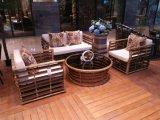 Conjuntos de mimbre de los muebles de la rota del patio del asiento del sofá del restaurante del patio de la rota al aire libre del PE