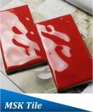 75X150mm Regentropfen-rote glasig-glänzende keramische Untergrundbahn-Fliese