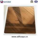 Foshan-Qualitäts-Kreuz-HaarstrichEdelstahl farbige dekorative Blatt-Platte