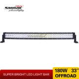 barra ligera doble ligera curvada caliente de la fila LED de 180W 33inch