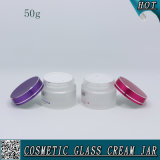 50ml Frosted Cosmetic Glass Facial Cream Jars with Colored Aluminum Lid