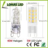 La bombilla E14 G4 G9 2835 SMD 5W del maíz del LED calienta la lámpara incandescente blanca del reemplazo de 2800k 40-Watt
